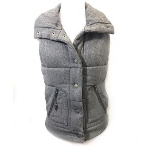 BB Dakota S Gray Quilted Vest Puffy Tweed Aderyn